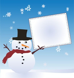 Snow man with message board vector