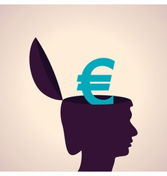 Thinking concept-human head with euro symbol vector