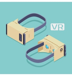 Isometric cardboard virtual reality headset vector