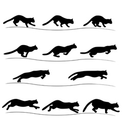Set of running black cat silhouettes vector