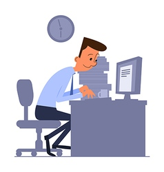 Cartoon office worker typing on computer vector
