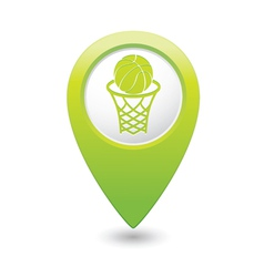 Basketball green map pointer vector