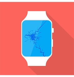 Broken smart watch flat stylized vector