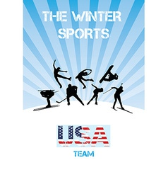 The winter sports usa team vector