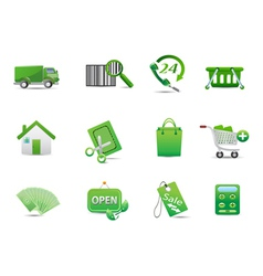 Green ecology shopping business icon set vector