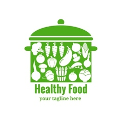 Healthy food badge pan with vegetables vector