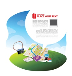 Travel kits with speech bubble vector