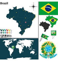 Brazil map world vector