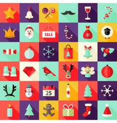 Big christmas squared flat icons set 1 vector