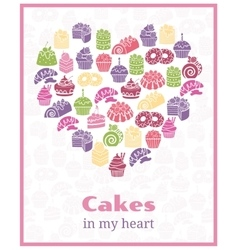 I love cakes baking heart shaped sign vector