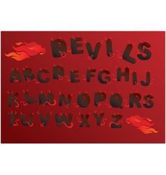 Alphabet with funny demons letters and fire vector