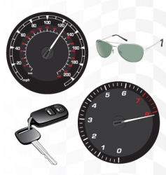 Tachometer and speedometer vector