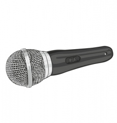 Silver microphone vector