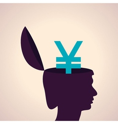 Thinking concept-human head with yen symbol vector