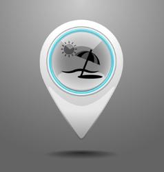 Glossy beach icon vector