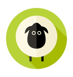 Sheep flat circle icon over green vector