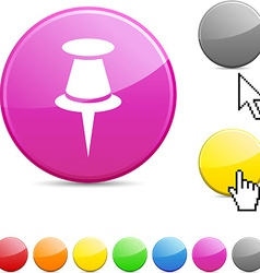 Drawing-pin glossy button vector