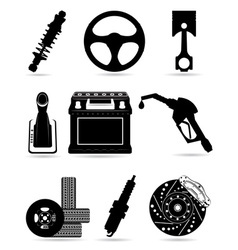 Set icons of car parts black and white vector