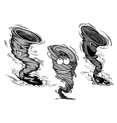 Furious cartoon tornado and hurricane characters vector