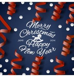 Christmas party card with streamers and confetti vector
