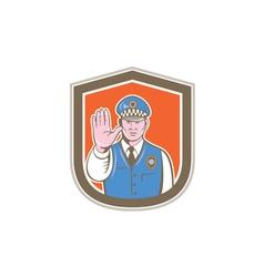 Traffic policeman hand stop sign shield cartoon vector