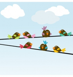 Colored stylized birds on wires vector