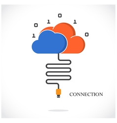 Business connection and cloud technology vector