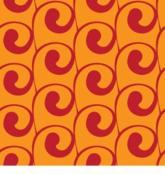 Seamless orange background with red swirls vector
