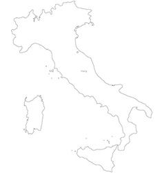 Black white italy outline map vector