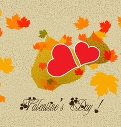 Happy valentine with leaf hearts vector
