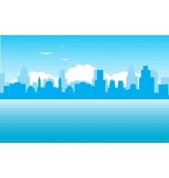 Silhouette of the city on seaside vector