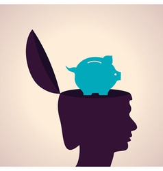 Thinking concept-human head with piggy bank vector