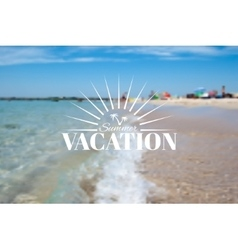 Summer beach landscape and vacation insignia vector