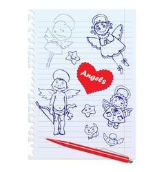 Set of hand-drawn sketchy angels on lined notebook vector