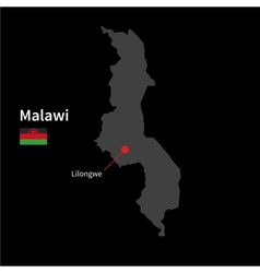 Detailed map of malawi and capital city lilongwe vector