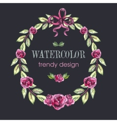 Rose wreath floral trendy design with copy space vector
