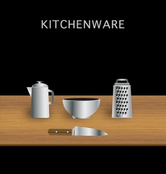 Table kitchenware knife grater bowl moka pot vector