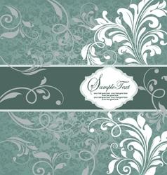 Vintage blue damask invitation with floral element vector