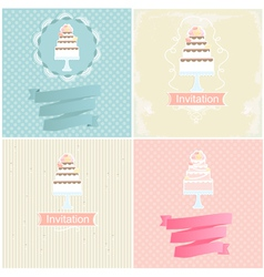 Set of invitation designs with cakes vector