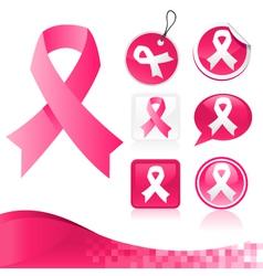 Pink ribbons kit vector