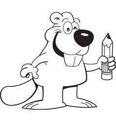 Cartoon beaver holding a pencil vector