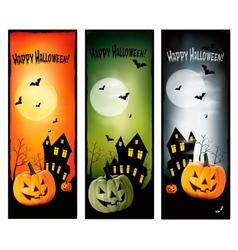Tree halloween banners vert vector