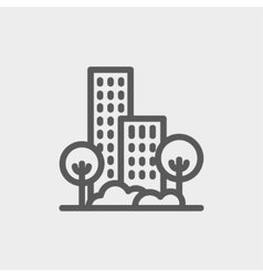 Building and trees thin line icon vector