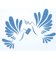 Doves with mail and spray vector