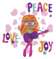 Hippie girl with guitar love peace and joy vector