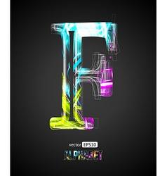 Design light effect alphabet letter f vector