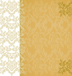 Background floral border vertical gold vintage vector