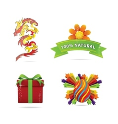 Web and nature elegance symbols set vector