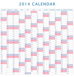 Table schedule calendar 2014 vector
