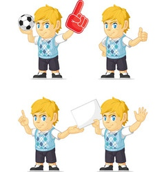 Blonde rich boy customizable mascot 3 vector